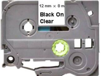 Brother TZe131 Tape sort tekst på gennemsigtig - 12mm x 8m - Kompatibel