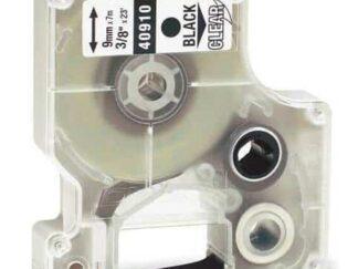 Dymo 40910 D1 standardtape sort på klar - 9mm x 7m - Kompatibel