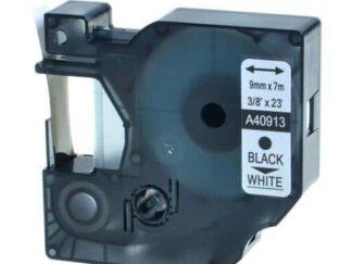 Dymo 40913 D1 standardtape sort på hvid - 9mm x 7m - Kompatibel