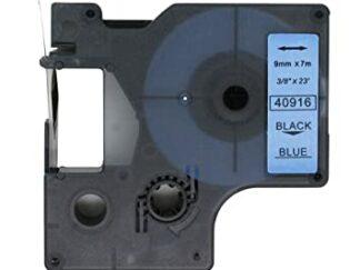 Dymo 40916 D1 standardtape sort på blå - 9mm x 7m - Kompatibel