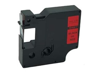 Dymo 40917 D1 standardtape sort på rød - 9mm x 7m - Kompatibel