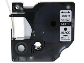 Dymo 43613 D1 standardtape sort på hvid - 6mm x 7m - Kompatibel