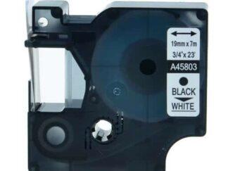 Dymo 45803 D1 standardtape sort på hvid - 19mm x 7m - Kompatibel
