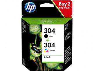 Multi pack! HP 304 1 x Sort 1 x Farve blækpatron 7.5ml - 3JB05AE - original