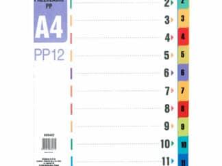 Faneblade A4 1-12 i plastik