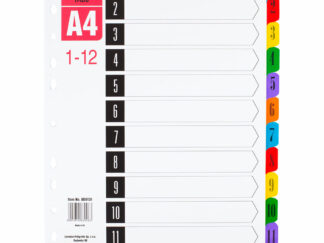 Faneblade A4 1-12 i plastik med laminerede kanter