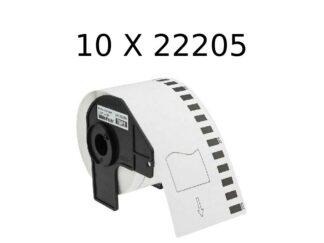 Brother 10 stk DK22205 rulle termokopieringspapir - 6.2cm x 30.5m - Kompatibel - DK22205