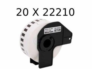 Brother 20 stk DK22210 rulle etiketter - 2.9cm x 30.5m - Kompatibel - DK22210