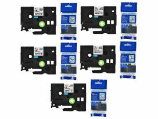 Brother Rabat sæt 5 stk TZe231 Tape sort tekst på hvid - 12mm x 8m - Kompatibel - TZe231