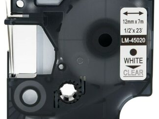 Dymo 45020 D1 standardtape hvid på transparent – 12mm x 7m – Kompatibel – S0720600