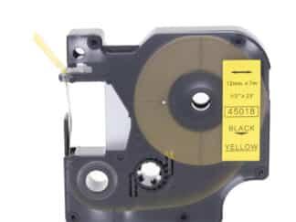 Dymo 45018 D1 standardtape sort på gul - 12mm x 7m - kompatibel 45018