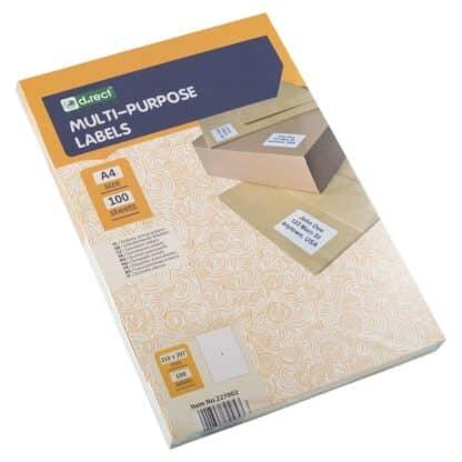 Universaletiketter 1 stk pr ark 210 x 297mm. 100 ark 100 labels i alt